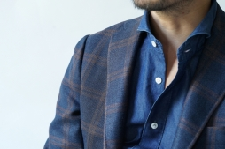 brown × blue plaid jacket / RT057S24X
