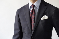 navy plaid suit / RT027S55X